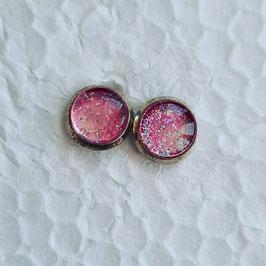 8 mm Metall Ohrstecker pink Glitzer