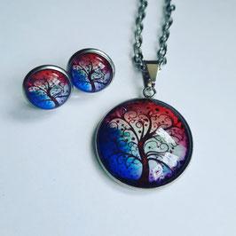 Lebensbaum blau/weiß/rot