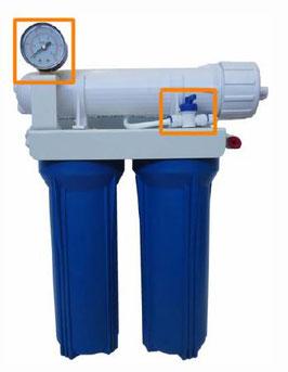 "Aquili Osmoseanlage mit 2 Filter 10"" – Spülventil und Manometer 189 l"