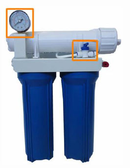 "Aquili Osmoseanlage mit 2 Filter 10"" – Spülventil und Manometer 1512 l"
