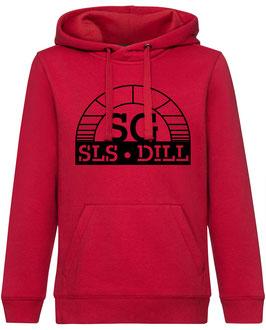 SG Hoodie rot mit schwarzem Logo und Wunschname