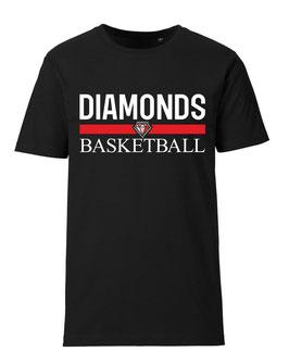 DIAMONDS T-Shirt schwarz mit Blocklogo und Wunschname