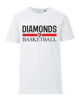 DIAMONDS T-Shirt weiß mit Blocklogo und Wunschname