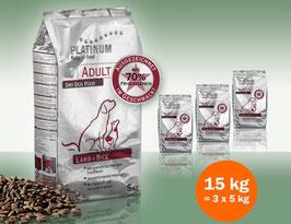 PLATINUM Adult Lamb+Rice, 15 kg