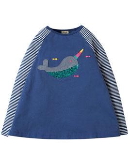 Frugi Shirt Langarm Wal Pailletten blau