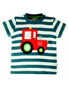 Frugi T-Shirt Traktor gestreift blau/weiß