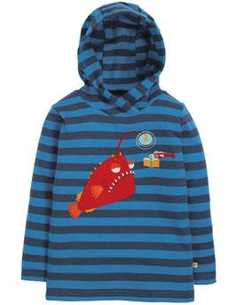 Frugi Hoodie Fisch gestreift blau