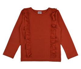 ba*ba Shirt Langarm Rüschen orangerot