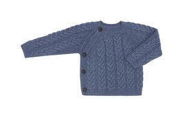 Puri Organic Strick-Kimono Zopfmuster china blue