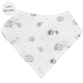 NEU People Wear Organic Wende Dreieckstuch Elefanten weiß/grau