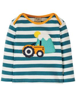 Frugi Shirt Langarm Traktor gestreift stahlblau