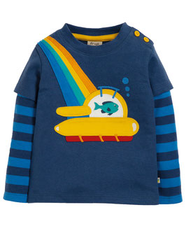 Frugi Shirt Langarm U-Boot blau