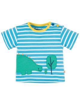 Frugi T-Shirt Dino gestreift hellblau/weiß