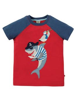 Frugi Raglan T-Shirt Hai rot blau