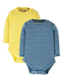 Frugi Body Langarm 2er Pack Pointelle blau/gelb