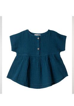 NEU Organic by Feldman Musselin Tunika Shirt - petrol blue