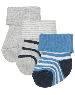 NEU Sanetta Erstlingssöckchen mit Umschlag malibu blue/ Ringel/ Uni