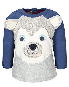 Frugi Shirt Langarm Husky grau melange/blau