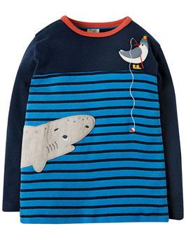 Frugi Shirt Langarm Hai gestreift marine/blau