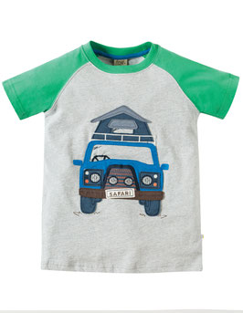 Frugi T-Shirt Safari Jeep grün/grau