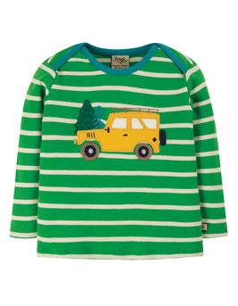NEU Frugi Shirt Langarm Geländewagen gestreift grün