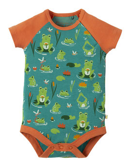 Frugi Body Kurzarm Frosch türkis/orange