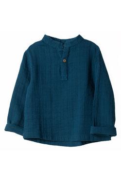 NEU Organic by Feldman Musselin Langarmshirt - petrol blue