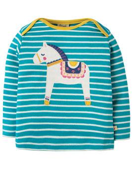 Frugi Shirt Langarm Pferd gestreift türkis