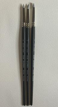 Set de tres pinceles de punta, cincel angular y cincel plano Gum Shaper de goma dura gris