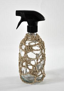 FLACON VIDE SPRAY CROCHET lin naturel 500 ml  verre transparent / SPRAY EMPTY BOTTLE natural linen 500 ml/16,9 fl oz, clear glass