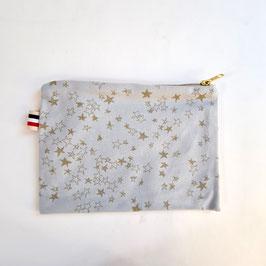 Trousse coton gris étoile dorées