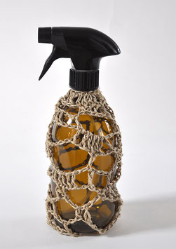 FLACON VIDE SPRAY CROCHET lin naturel 500 ml  verre brun / SPRAY EMPTY BOTTLE natural linen 500 ml/16,9 fl oz, brown glass