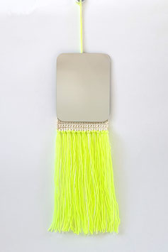 MIROIR franges jaune fluo et blanches / MIRROR fluo yellow and white fringe