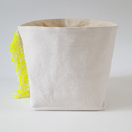 BAC L drap et franges jaune fluo et blanches / BINS STORAGE L fluo yellow and white fringe