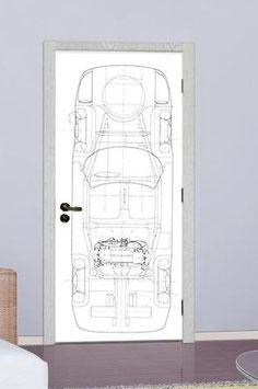 Tür Sticker Doorwrap Porsche 904 Blueprint