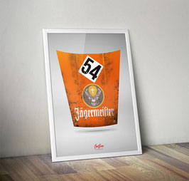 "Poster: Porsche 911 Motorhaube ""Jägermeister """