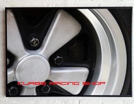 Poster: Porsche 911 Fuchs Felge (schwarz/weiß) 50cm x 70cm