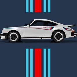 Porsche M42 Martini Seitenstreifen Sticker Set