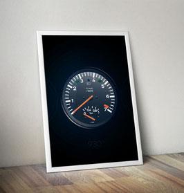 Poster: Porsche Drehzahlmesser Ladedruckanzeige 911 930 Turbo