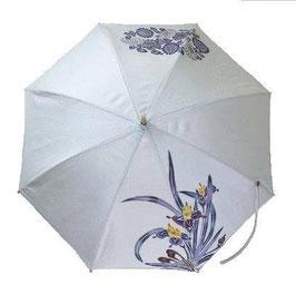 手染 日傘  アヤメと菊