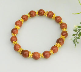 Armband aus braunem Goldfluss mit Tibetperlen