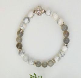 Armband Howlith und Mondstein