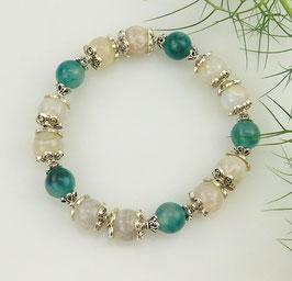 Armband grüne Jade mit Crackle-Achat und Blumenperlen
