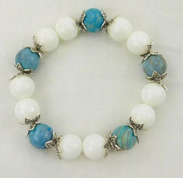 Achat-Armband weiße Jade mit Bandachat 14mm