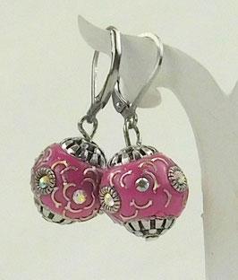 Strass-Ohrringe mit Künstlerperle pink