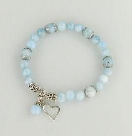 Armband Aquamarin mit Herzchen und Perle