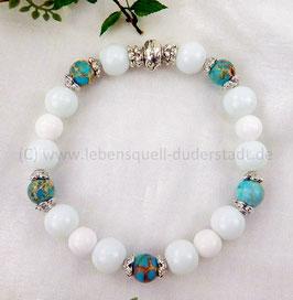 Armband weiße Jade mit 8mm Jaspis