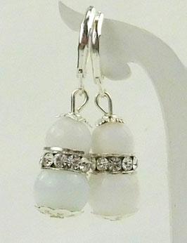 Ohrringe 10mm weiße Jade