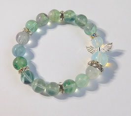 Armband 10mm Fluorit mit Opal-Schutzengel