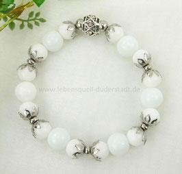Armband weiße Jade mit Edelstahlperlen